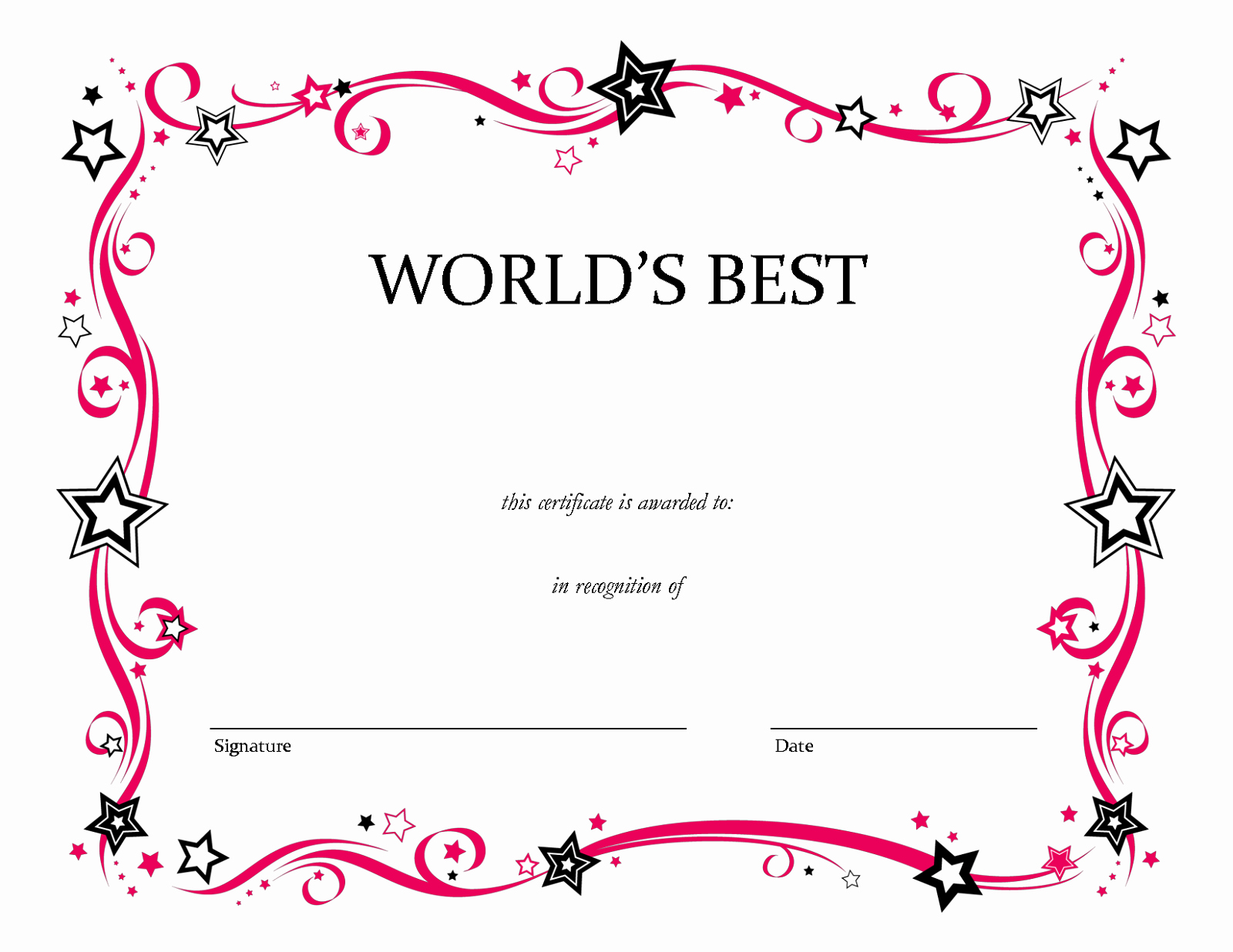Award Certificate Template Free New Blank Certificate Templates to Print