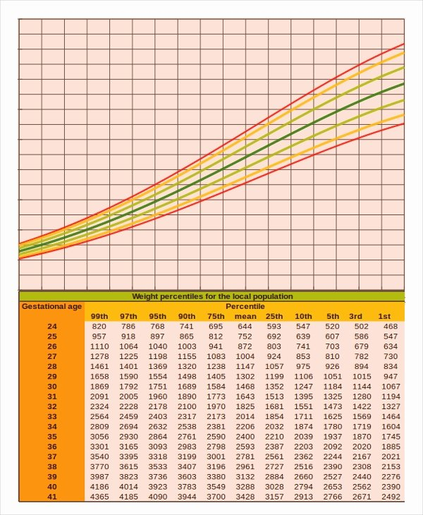 Baby Girl Growth Chart New Baby Growth Chart Calculator 6 Free Excel Pdf