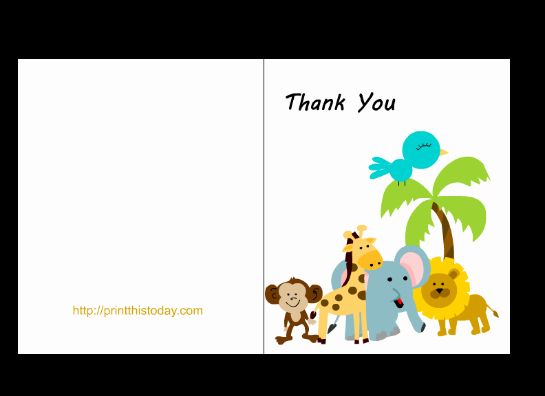 Baby Shower Card Printable Awesome Free Jungle Baby Shower Thank You Cards Printable