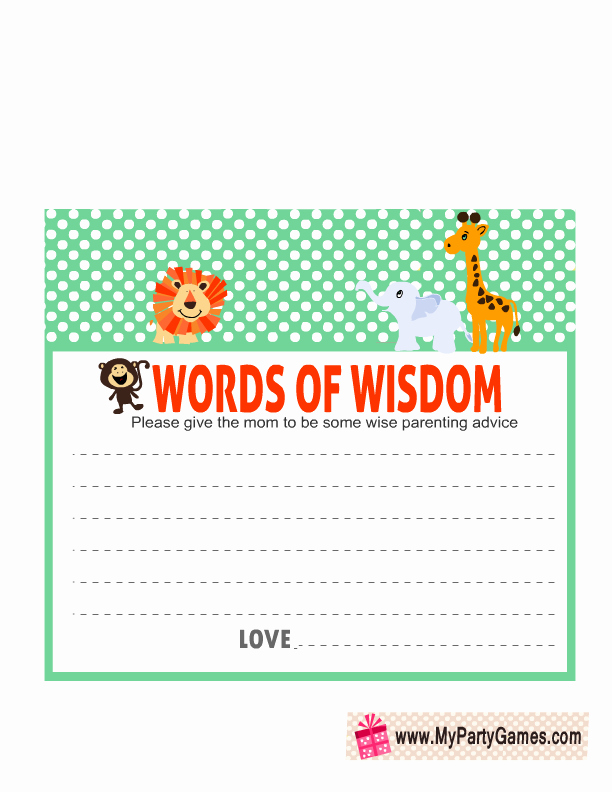 Baby Shower Card Printable Beautiful Free Printable Words Of Wisdom Cards