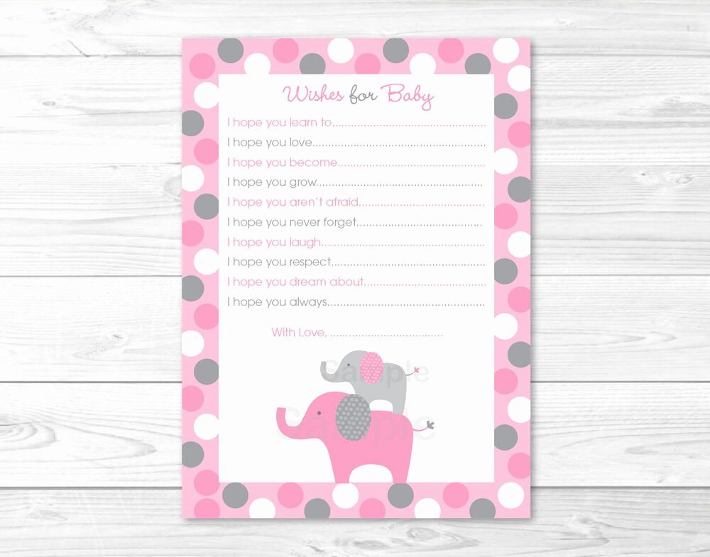 Baby Shower Card Printable Best Of Pink Gray Polka Dot Elephant Printable Baby Shower Wishes