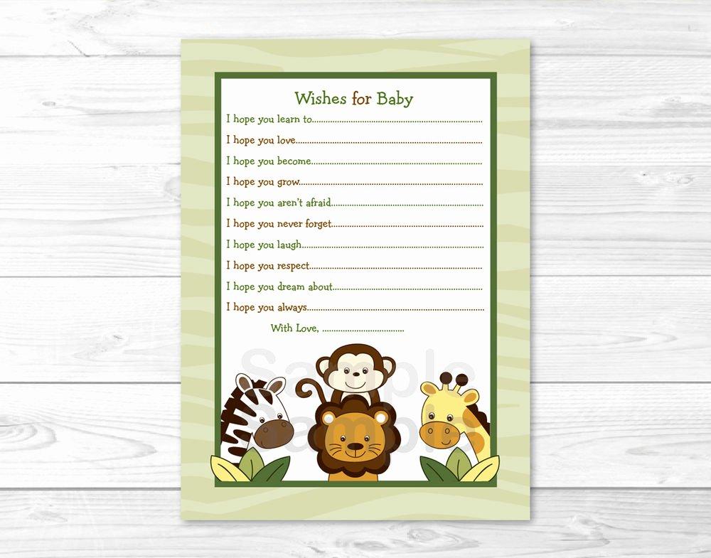 Baby Shower Card Printable Elegant Jungle Animals Safari Friends Printable Baby Shower Wishes