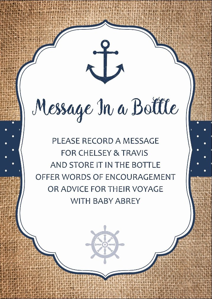 message in a bottle baby shower card