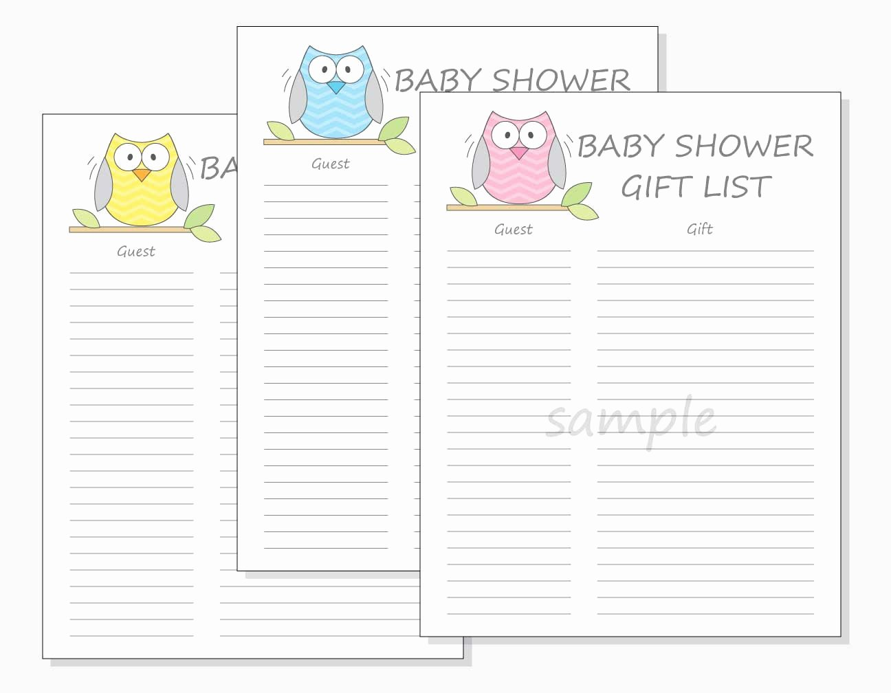 Baby Shower Gift Lists Awesome Diy Baby Shower Guest Gift List Printable Chevron Owl Design