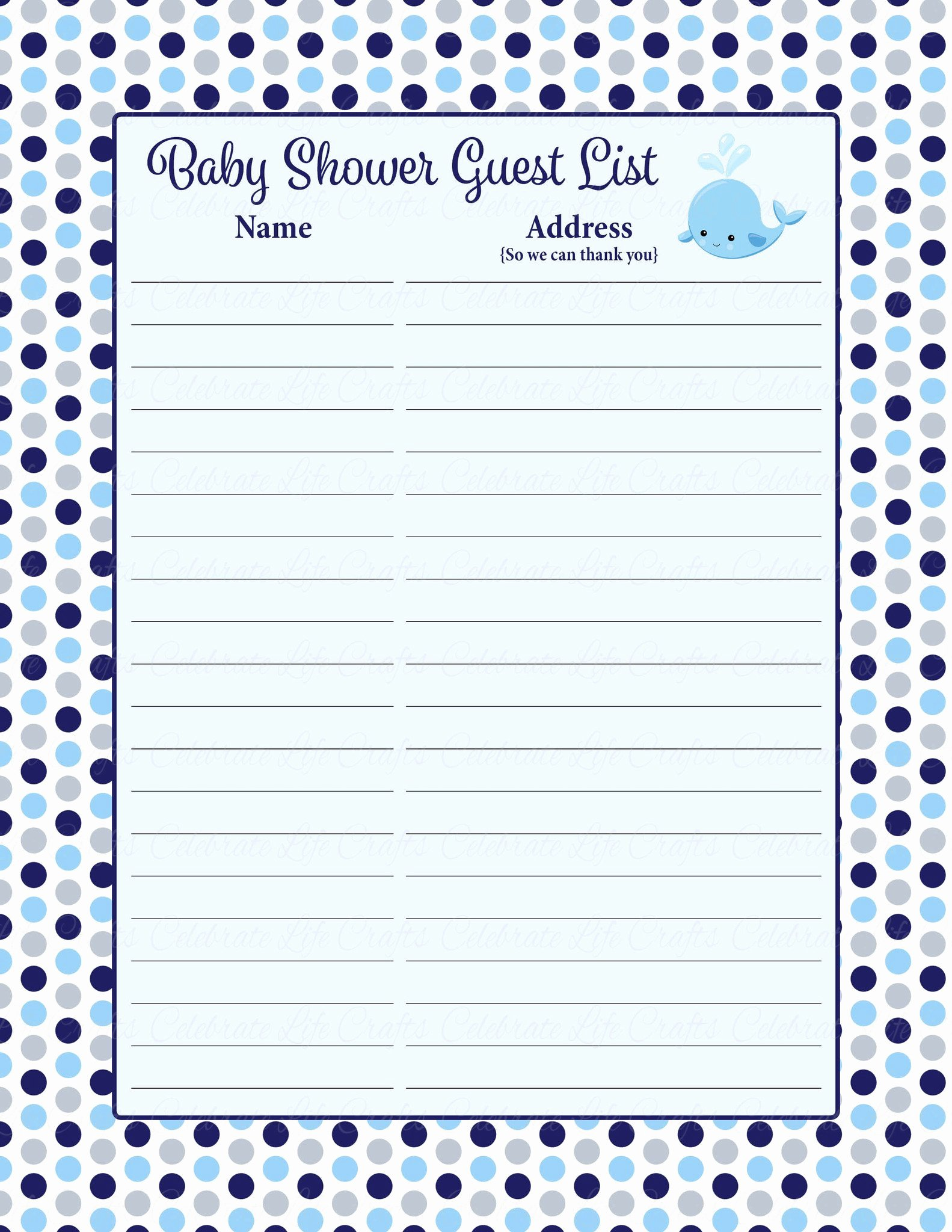Baby Shower Gift Lists Elegant Baby Shower Guest List Set Whale Baby Shower theme for