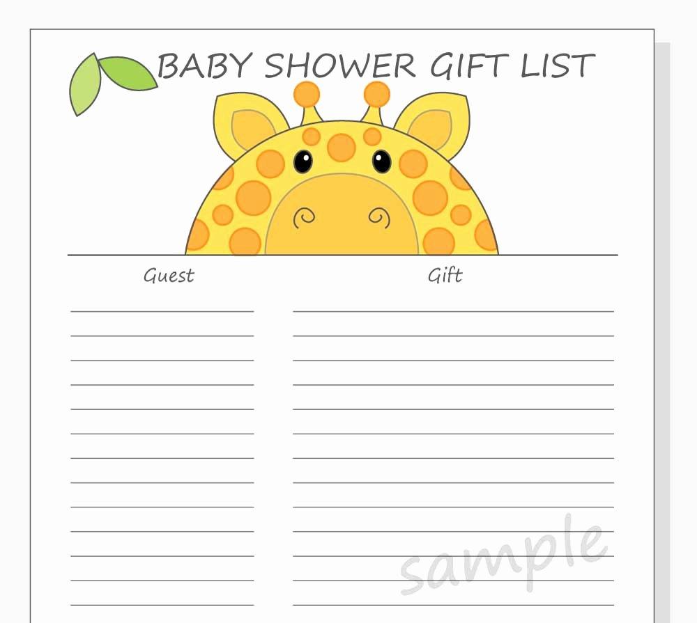 Baby Shower Gift Lists Elegant Diy Baby Shower Guest Gift List Printable Giraffe Design