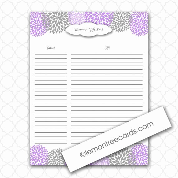 Baby Shower Gift Lists Elegant Items Similar to Lavender Bridal or Baby Shower Gift List