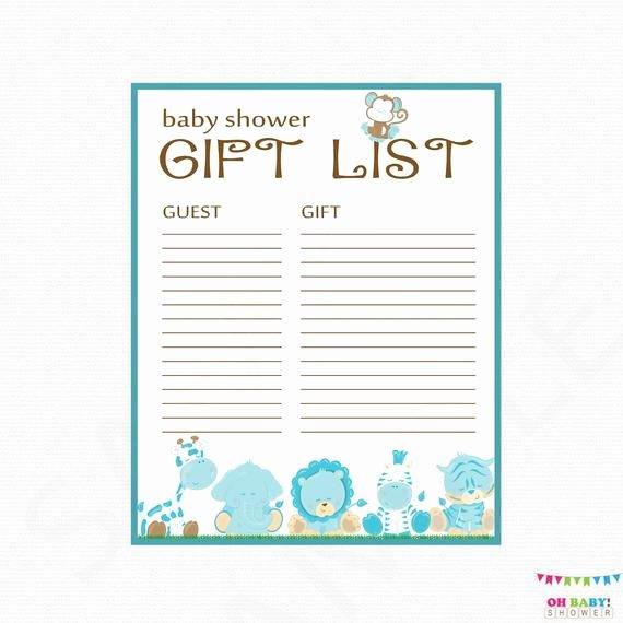 Baby Shower Gift Lists Elegant Safari Baby Shower Gift List Printable Gift List Baby Shower