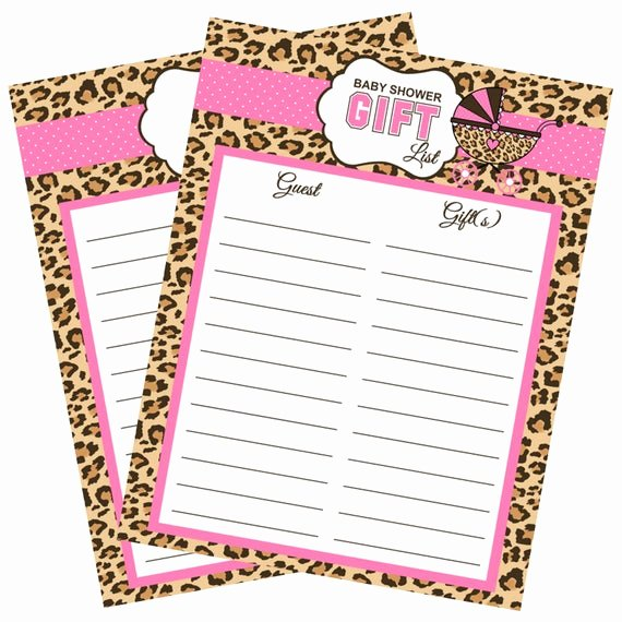 Baby Shower Gift Lists Fresh Cheetah Print Baby Shower Gift List Instant Download