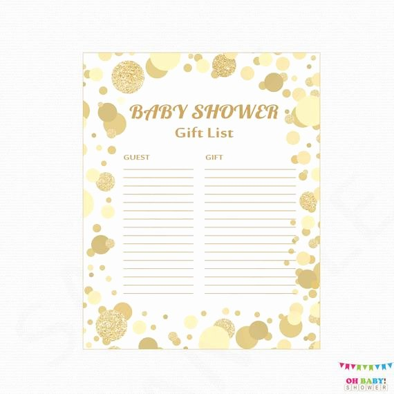 Baby Shower Gift Lists Fresh Gold Baby Shower Gift List Printable Gift List Baby Shower