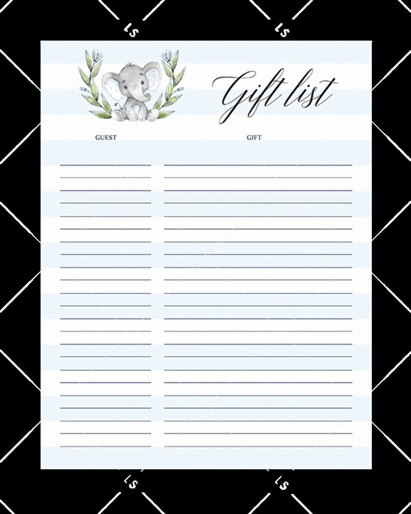 Baby Shower Gift Lists Fresh Printable Gift Lists Party Planner Sheets