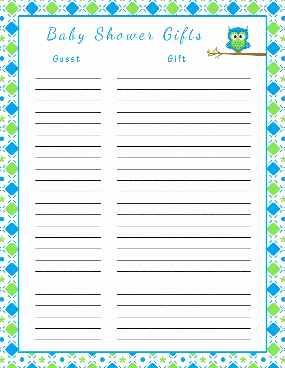 Baby Shower Gift Lists Inspirational Baby Shower Gift List Printable Baby by Celebratelifecrafts