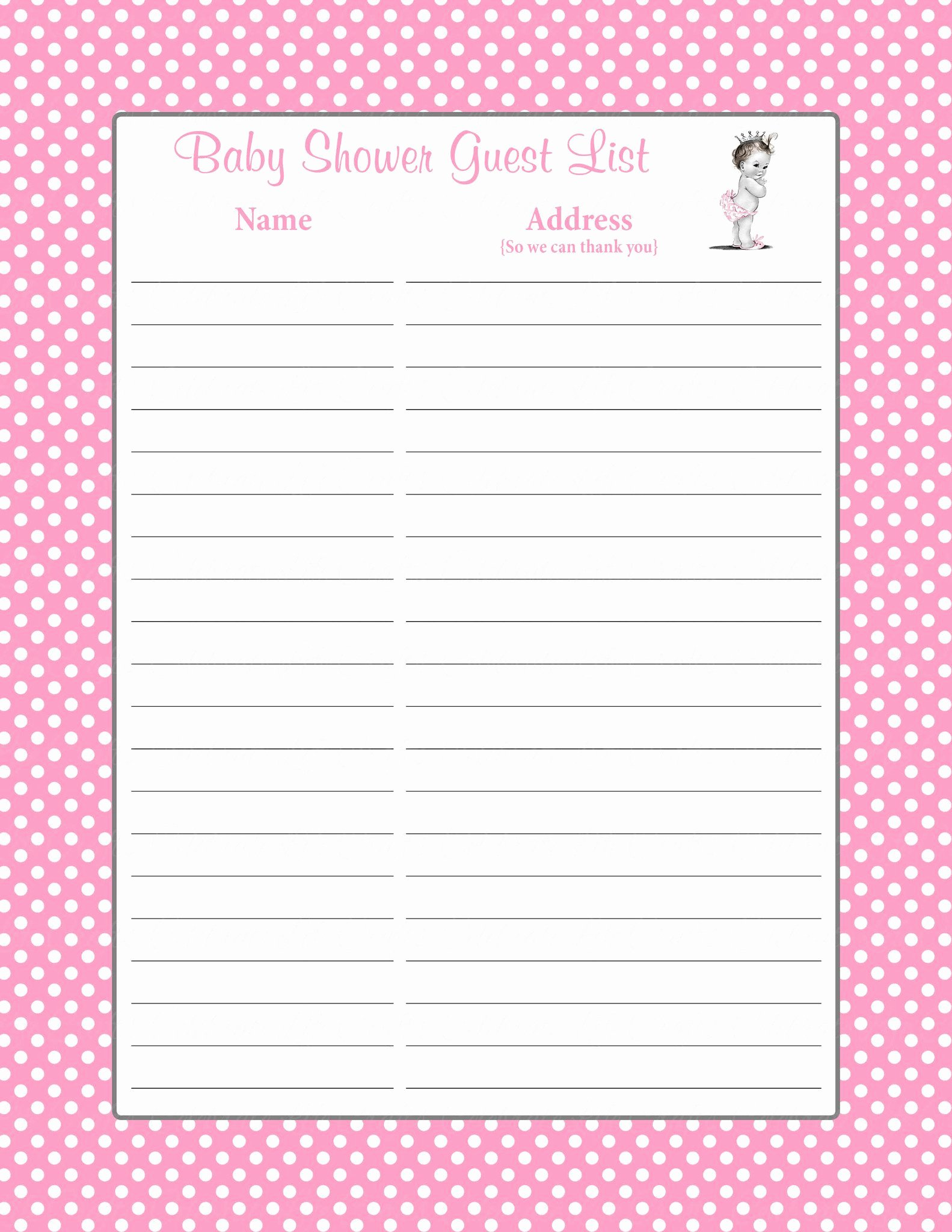 Baby Shower Gift Lists Inspirational Baby Shower Guest List Set Princess Baby Shower theme