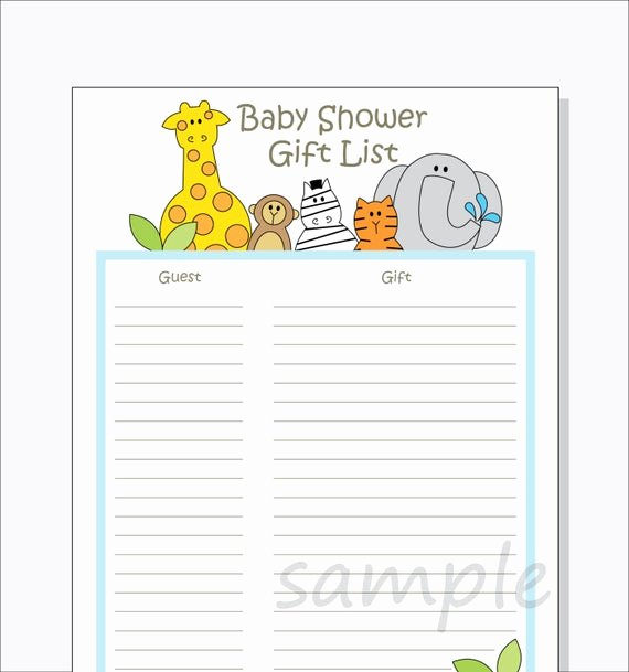 Baby Shower Gift Lists Inspirational Diy Baby Shower Guest Gift List Printable Jungle Animals