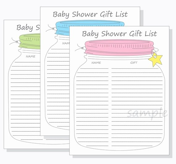 Baby Shower Gift Lists Lovely Baby Shower Guest Gift List Printable Diy Mason Jar Design