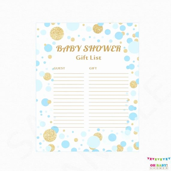 Baby Shower Gift Lists Lovely Blue and Gold Baby Shower Gift List Printable Gift List Baby