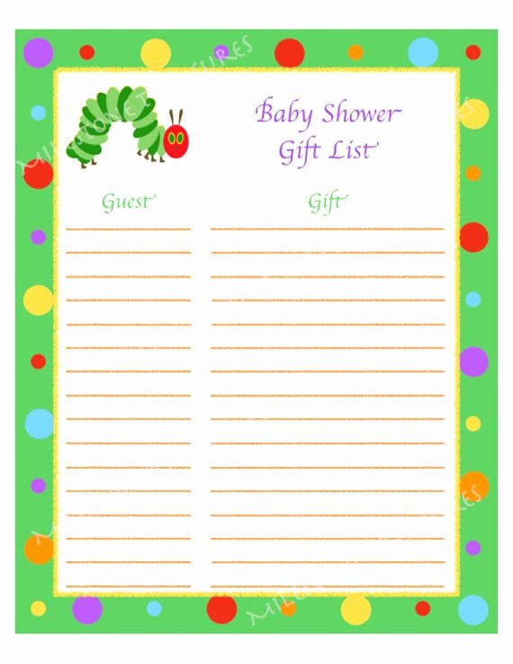 Baby Shower Gift Lists Luxury Caterpillar Baby Shower Gift List Digital by