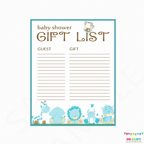 Baby Shower Gift Lists New Safari Baby Shower Gift List Printable Gift List Baby Shower