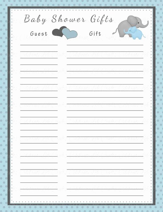 Baby Shower Gift Lists Unique Baby Shower Gift List Printable Baby Shower Party