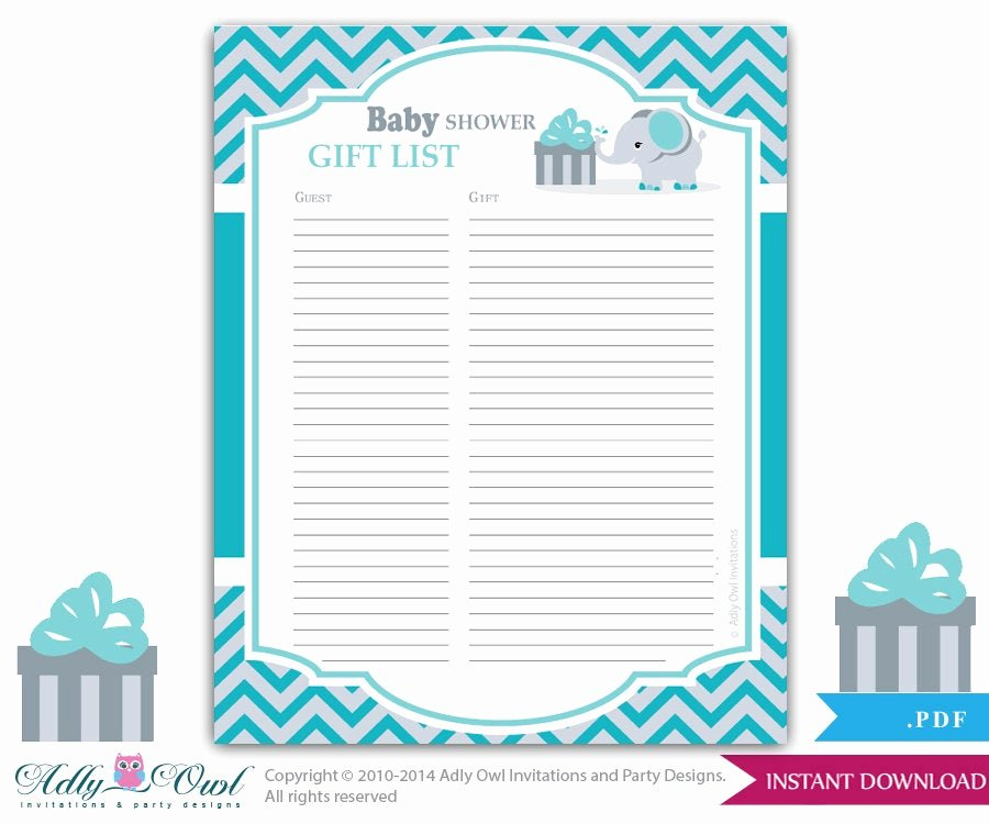 Baby Shower Gift Lists Unique Boy Elephant Guest Gift List Guest Sign In Sheet Card for