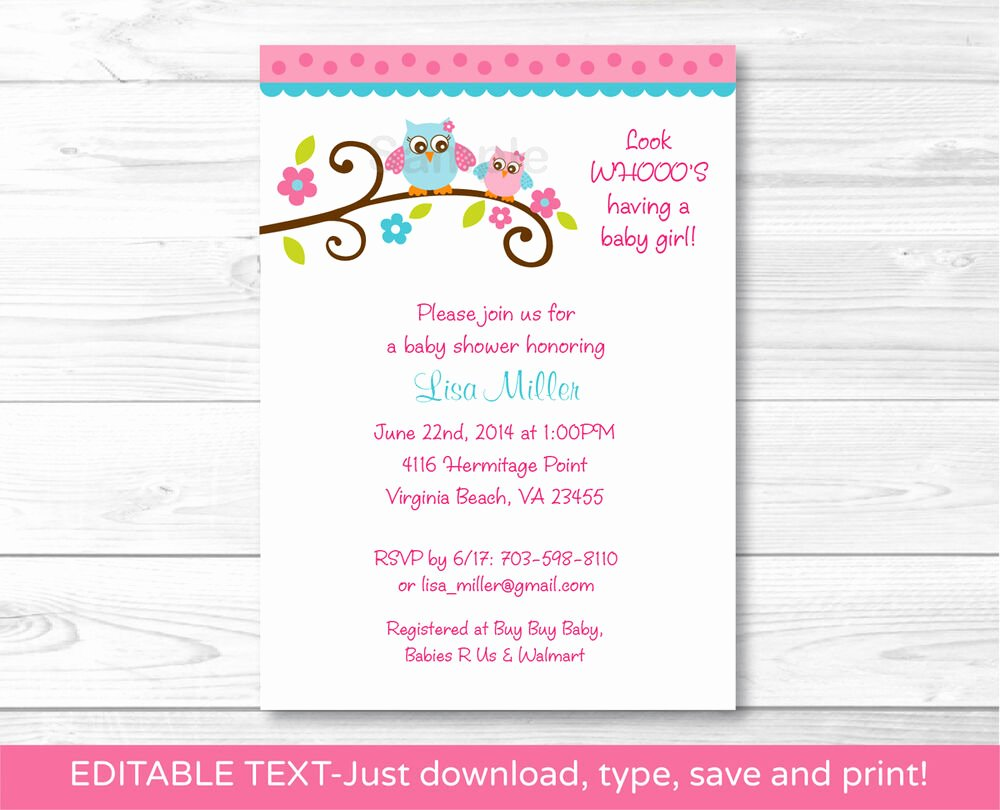 Baby Shower Invitations Templates Editable Awesome Girl Owl Printable Baby Shower Invitation Editable Pdf