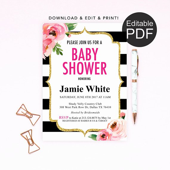 Baby Shower Invitations Templates Editable Awesome Kate Baby Shower Invitation Template Spade Baby Shower