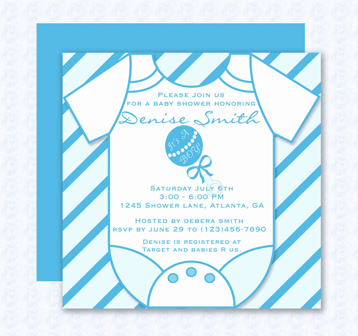 Baby Shower Invitations Templates Editable Beautiful Blue Esie Baby Shower Invitation Editable Template