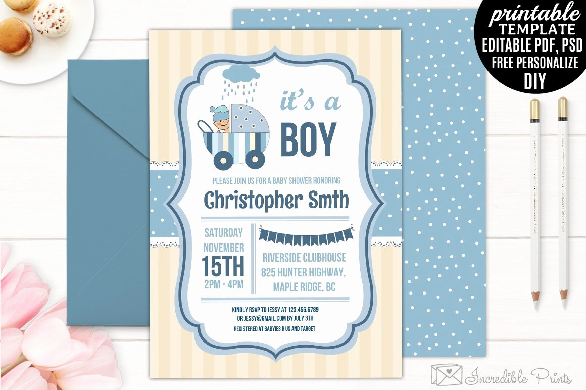 Baby Shower Invitations Templates Editable Beautiful Boy Baby Shower Invitation Template Invitation Templates