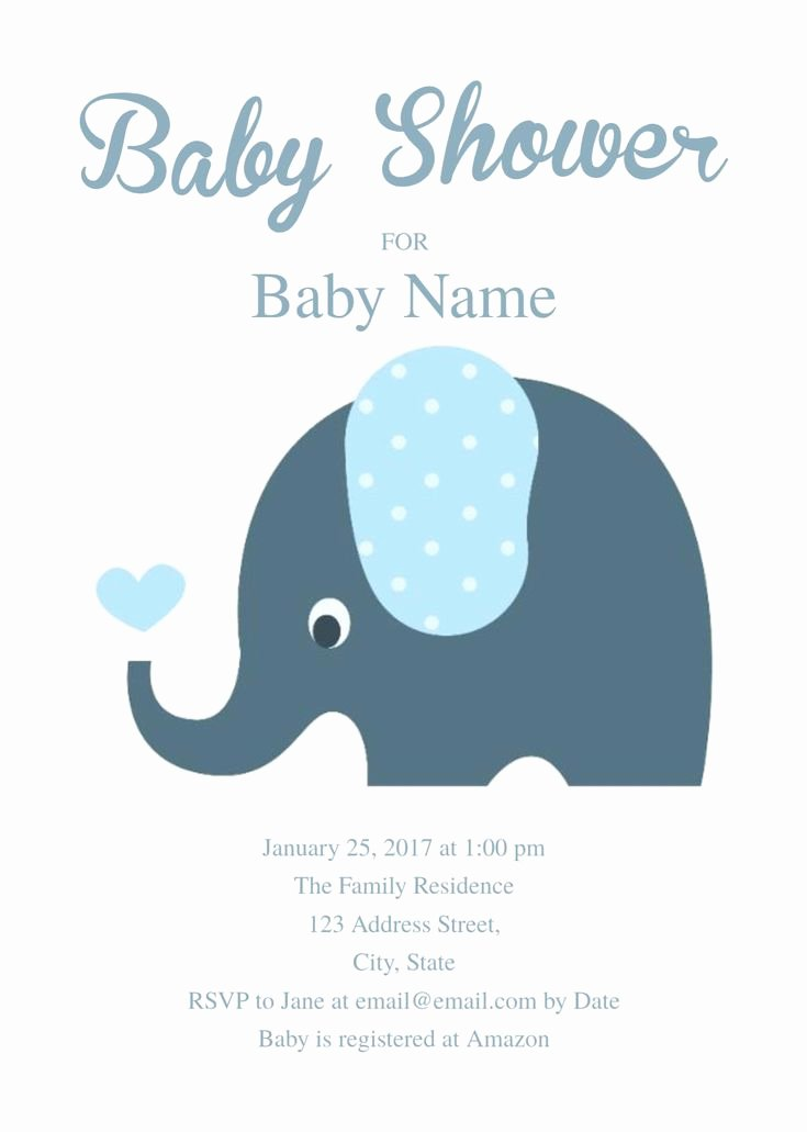 Baby Shower Invitations Templates Editable Beautiful Cute Elephant Baby Shower Invitation Template