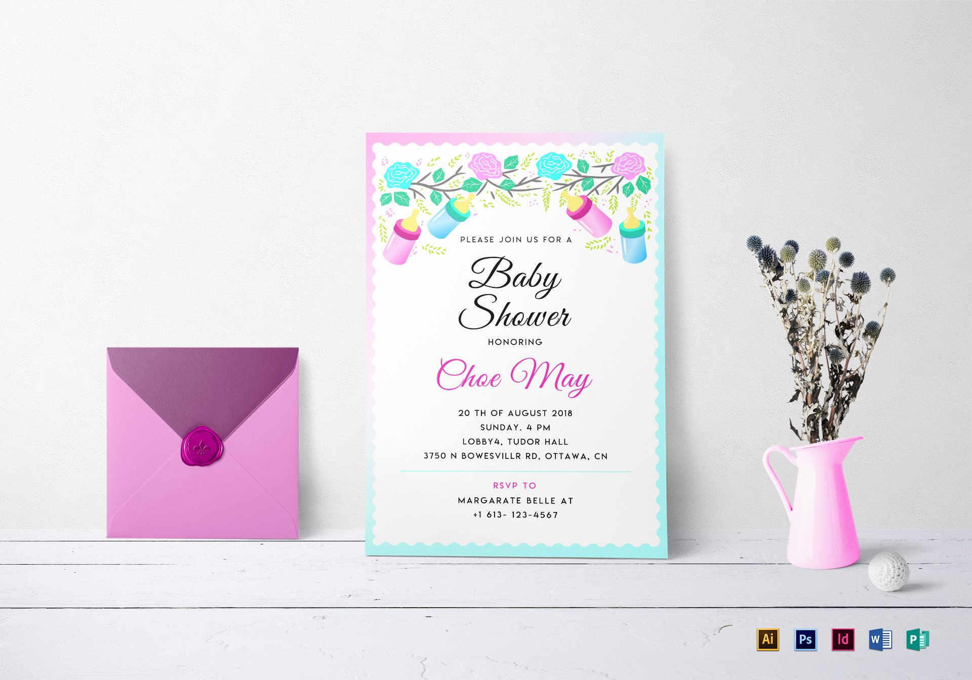 Baby Shower Invitations Templates Editable Lovely Editable Baby Shower Invitation Design Template In Psd