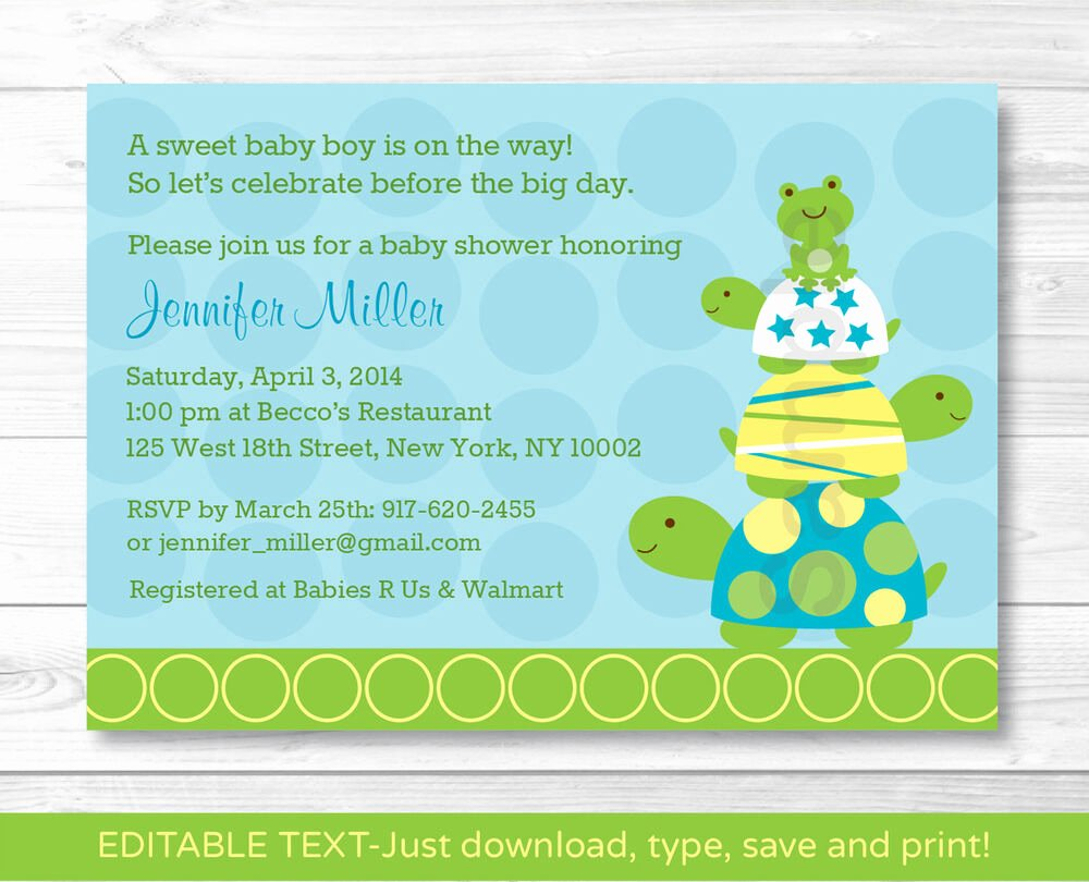 Baby Shower Invitations Templates Editable Lovely Stacked Turtle Frog Printable Baby Shower Invitation