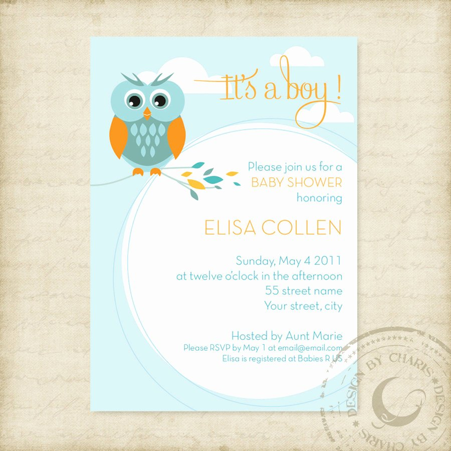 Baby Shower Invitations Templates Editable Luxury Baby Shower Invitation Template Owl theme Boy or Girl