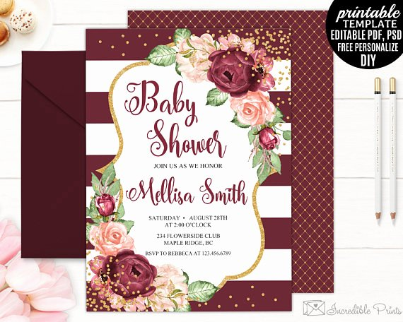 Baby Shower Invitations Templates Editable Luxury Baby Shower Invitation Template Printable Marsala Roses
