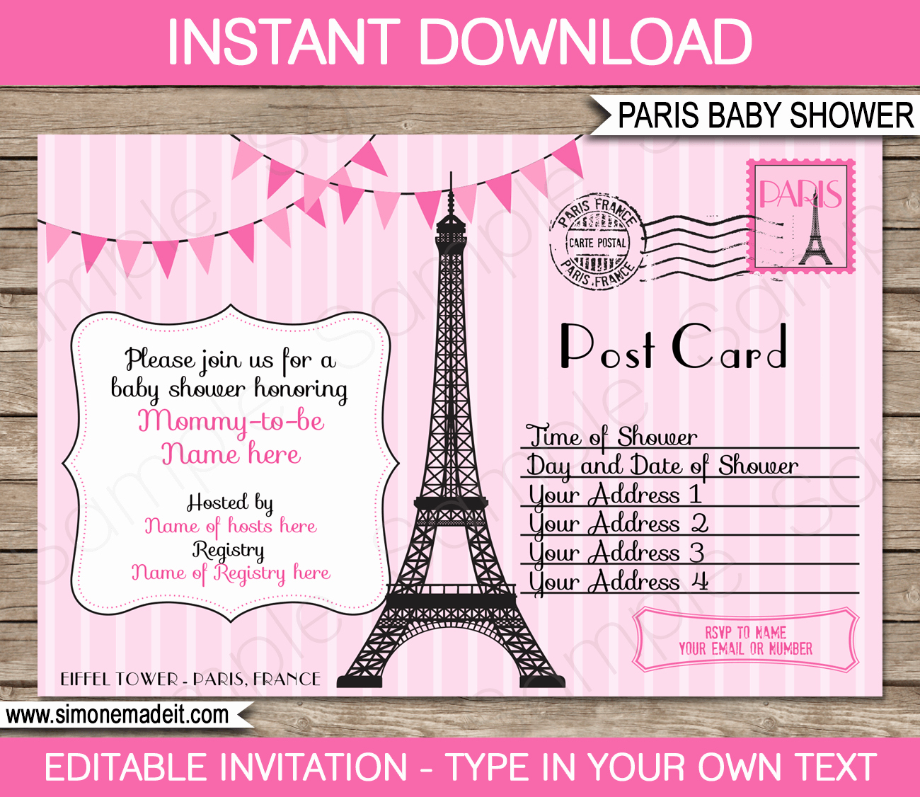 Baby Shower Invitations Templates Editable Luxury Paris Baby Shower Invitations Pink Girl