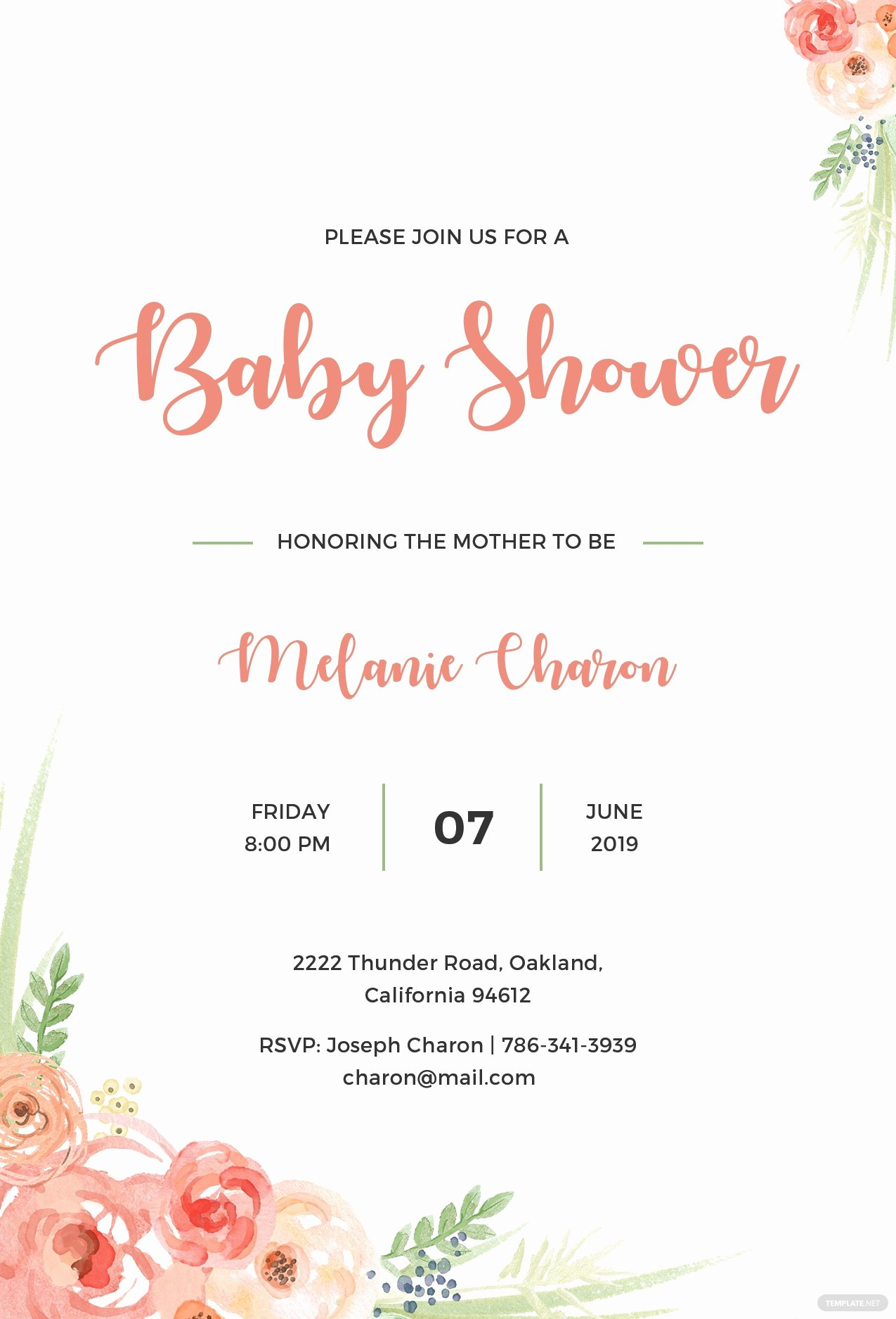 Baby Shower Invitations Templates Editable Unique Free Baby Shower Invitation Template In Psd Ms Word