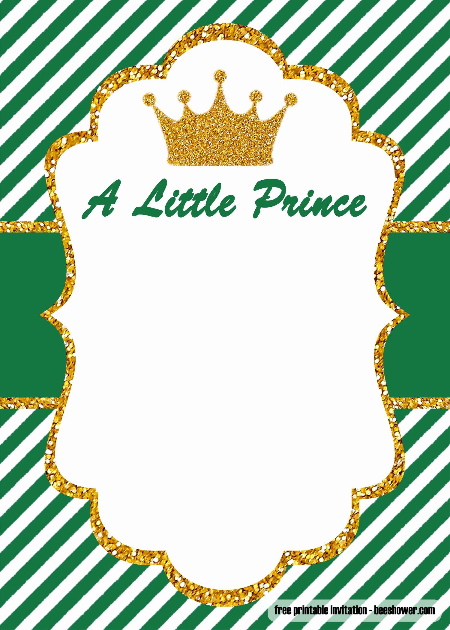 Baby Shower Invite Template Elegant Free Prince Baby Shower Invitations Templates