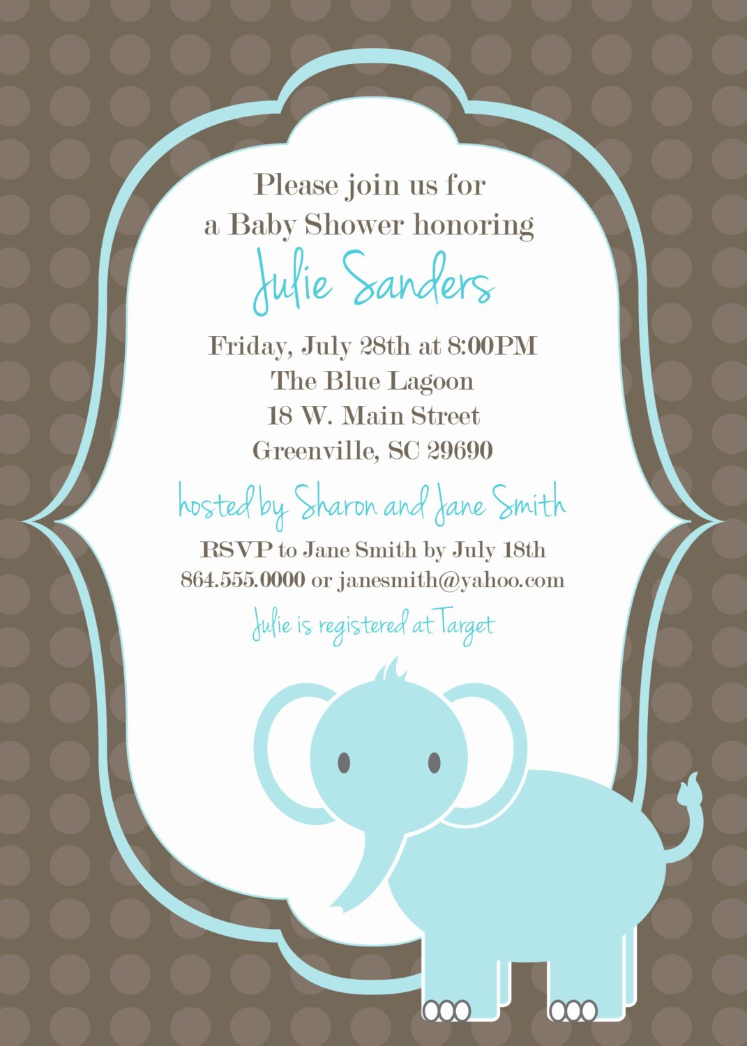 Baby Shower Invite Template Fresh Printable Baby Shower Invitation Elephant Boy by Ohcreative E
