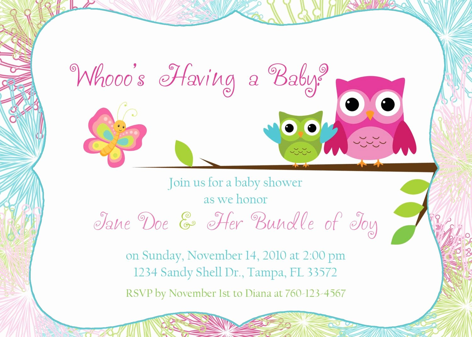 Baby Shower Invite Template Lovely Owl Baby Shower Invitation by Designsbyoccasion On Etsy