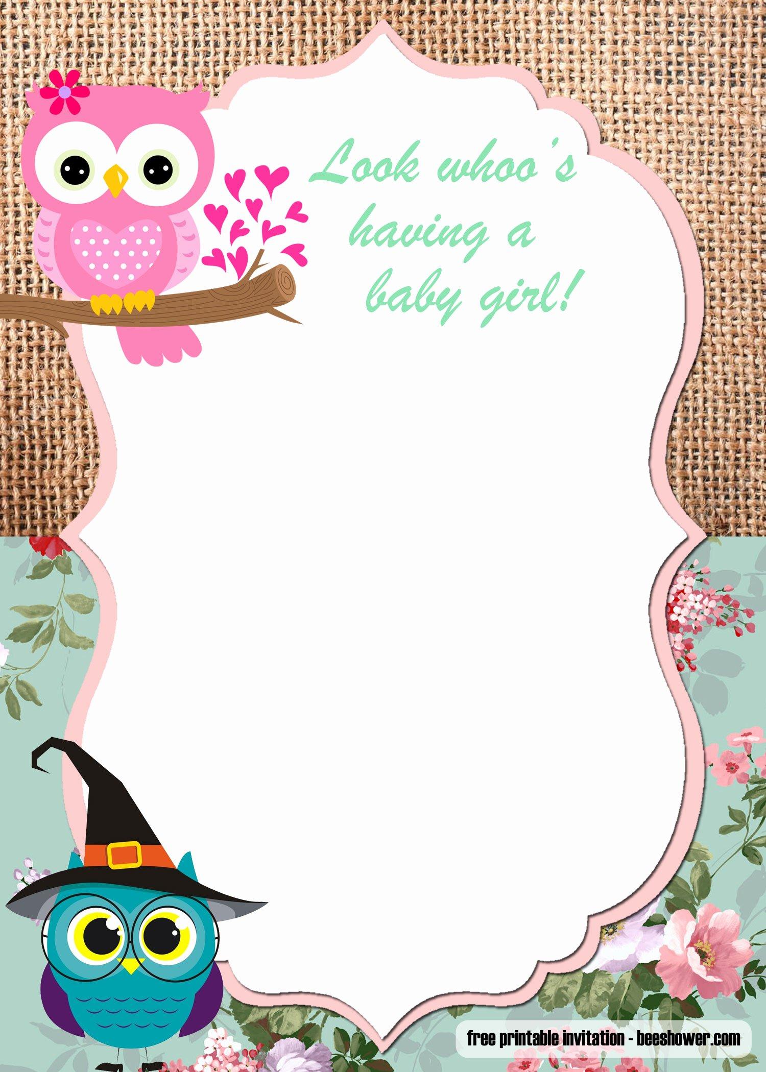 Baby Shower Invite Template Luxury Free Printable Owl Baby Shower Invitations Templates