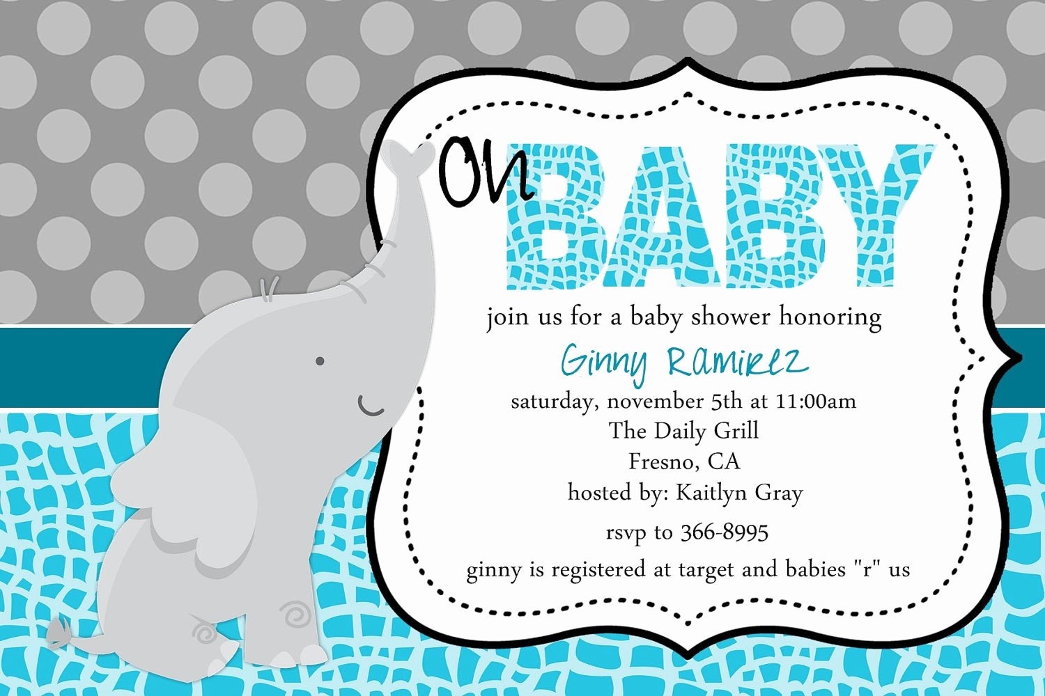 Baby Shower Invite Template New Baby Elephant Baby Shower Invitation Blue Pink Purple Little