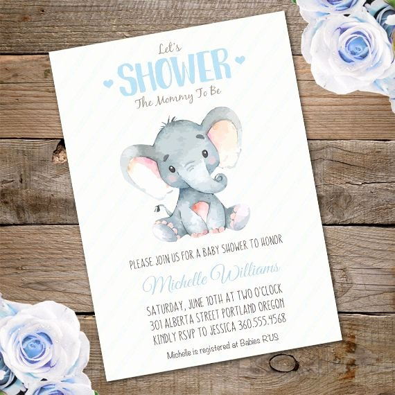 Baby Shower Invite Template Unique Elephant Baby Shower Invitation Template – Edit with Adobe