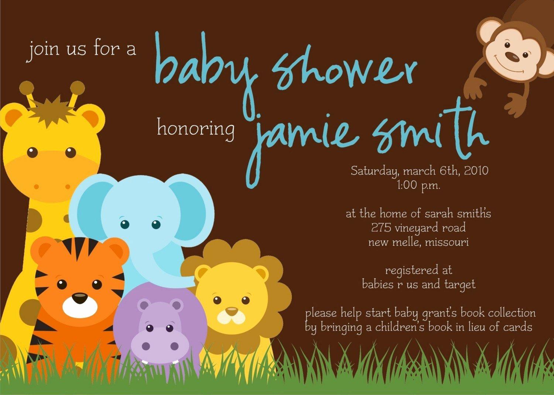 Baby Shower Invite Template Unique Jungle theme Baby Shower Invitation