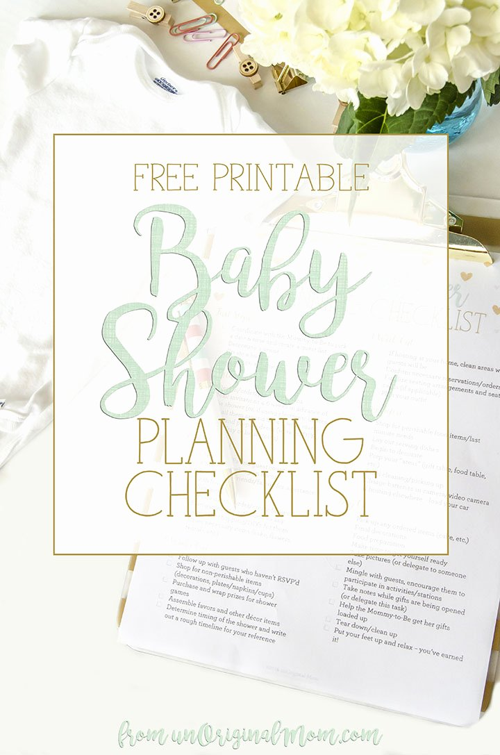 Baby Shower Planning Check List Beautiful Free Printable Baby Shower Planning Checklist Unoriginal Mom