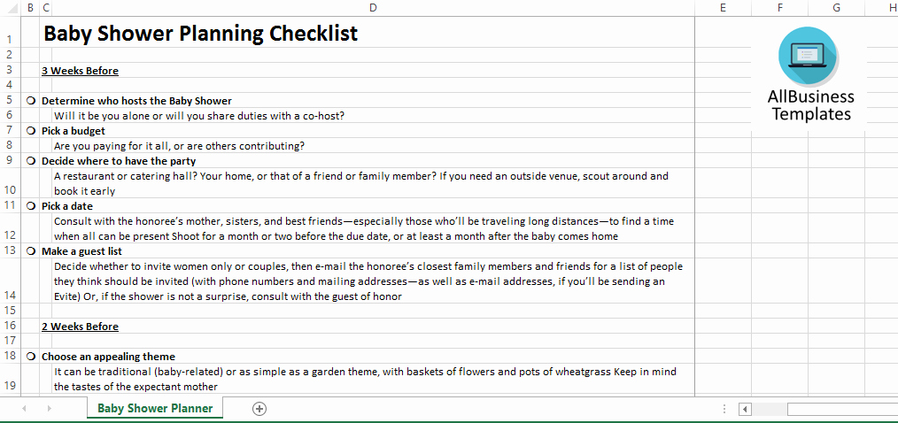 Baby Shower Planning Check List Unique Baby Shower Planner In Excel