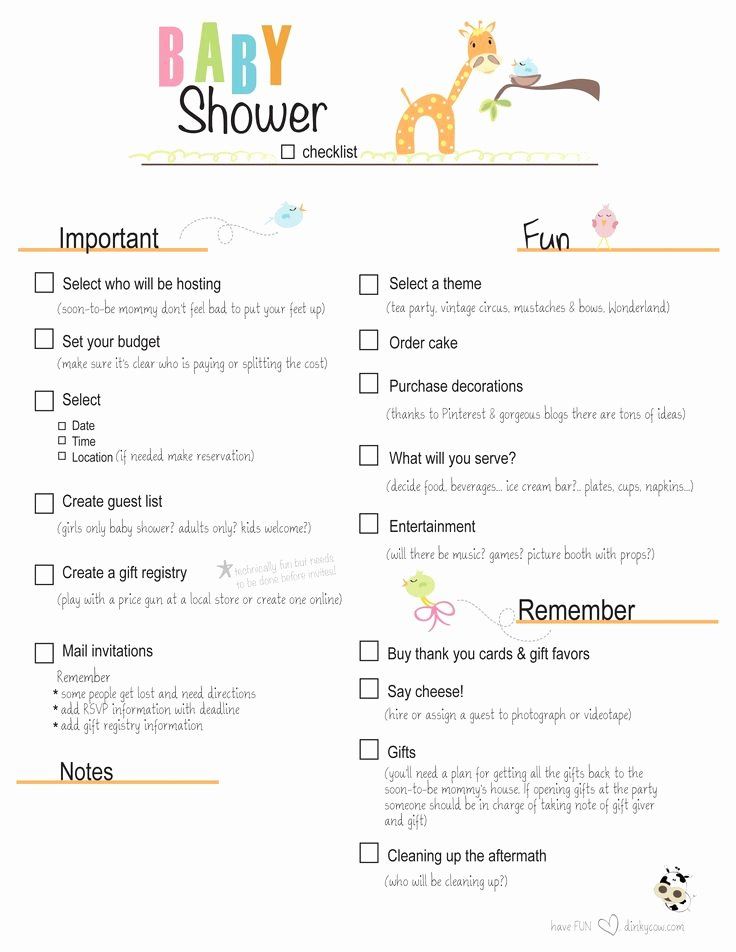 Baby Shower Planning Checklist Awesome Free Printable Baby Shower Checklist