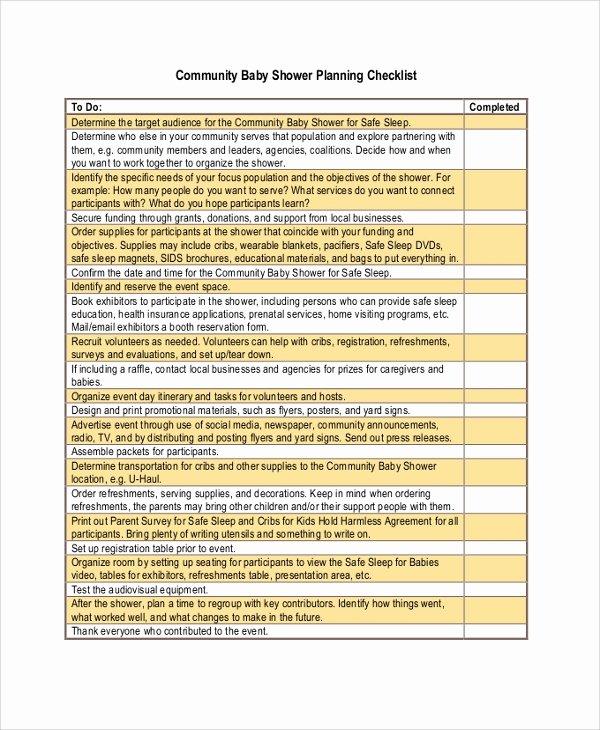 Baby Shower Planning Checklist Beautiful Sample Baby Shower Checklist 6 Examples In Pdf Excel