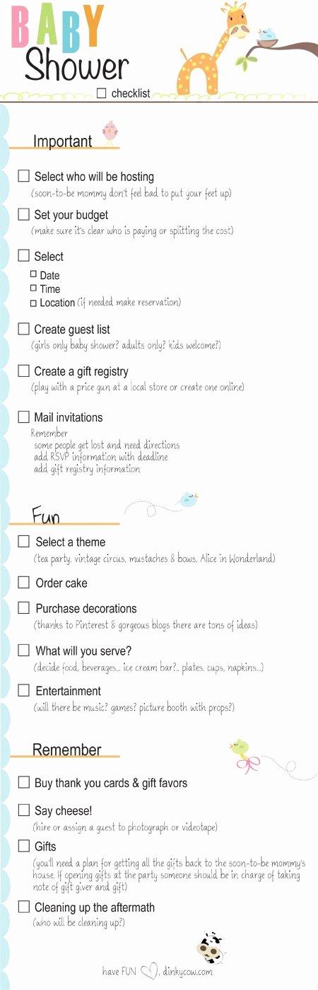 Baby Shower Planning Checklist Inspirational Baby Shower Checklist for Party Planning Printable