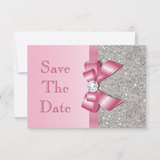 Baby Shower Save the Dates Beautiful Fake Pink Bow Diamonds Save the Date Baby Shower