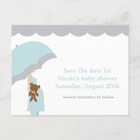 Baby Shower Save the Dates Best Of Blue Umbrella Baby Shower Save the Date Announcement