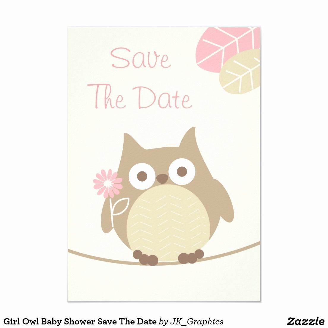Baby Shower Save the Dates Elegant Girl Owl Baby Shower Save the Date